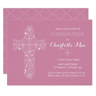 Girl's Confirmation Religious Invitation Card