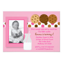 Girls Cookies and Milk Photo Birthday Invitations