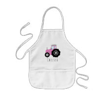 Girl's Cool Doodle Pink Farm Tractor with Name Kids' Apron