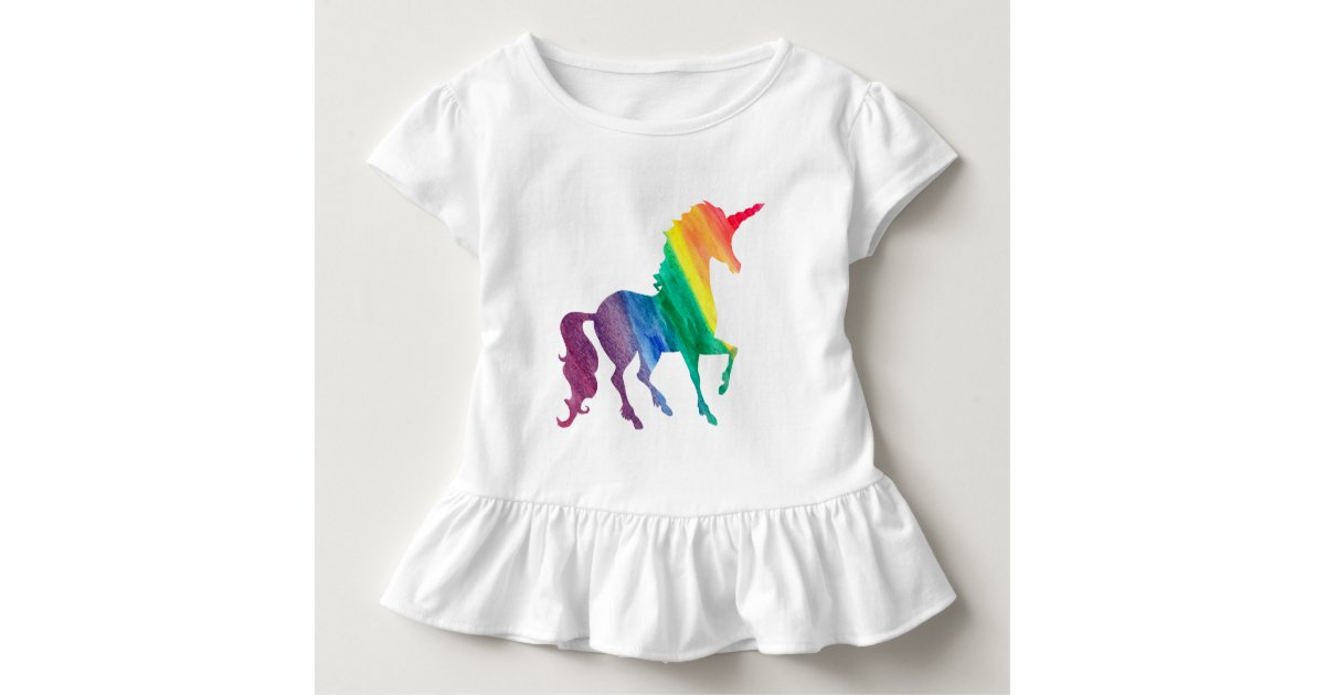 Girls Cool Rainbow Unicorn Watercolor Kids Toddler T-shirt | Zazzle.com