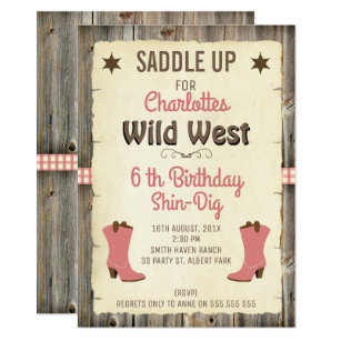 Cowgirl birthday invitations announcements zazzle girls cowgirl boots wild west birthday invitation filmwisefo Images