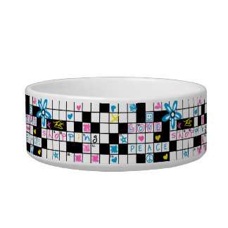 Girl's crossword puzzle bowl