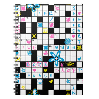Girl's crossword puzzle notebook