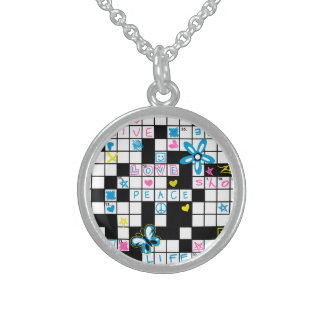 Girl's crossword puzzle sterling silver necklace