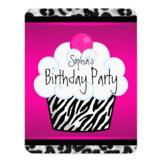 Girls Cupcake Birthday Party 4.25x5.5 Paper Invitation Card