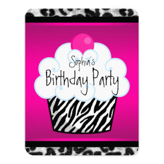 Girls Cupcake Birthday Party Invitation Cards