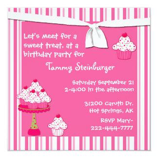 Girl's Cupcake Birthday Party Invitation