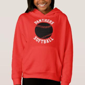 Girls Custom Color Softball Hoodie Sweatshirt