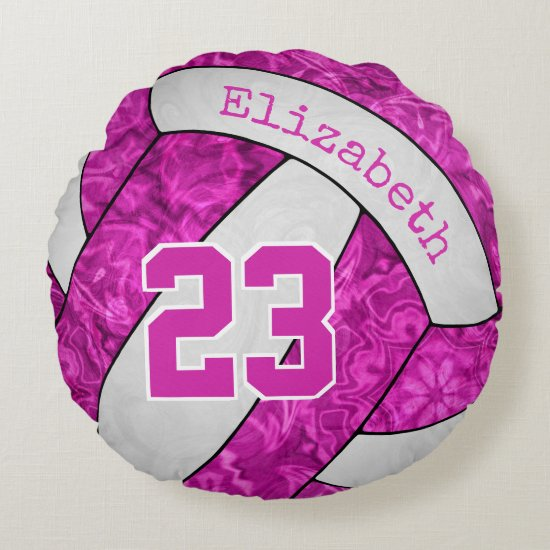 girls custom hot pink fuchsia white volleyball round pillow