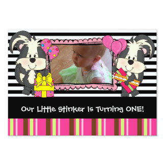 Girls Custom Little Stinker Skunk Birthday Invite