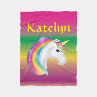 Girls Custom Name Rainbow Unicorn Fleece