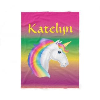 Girls Custom Name Rainbow Unicorn Fleece