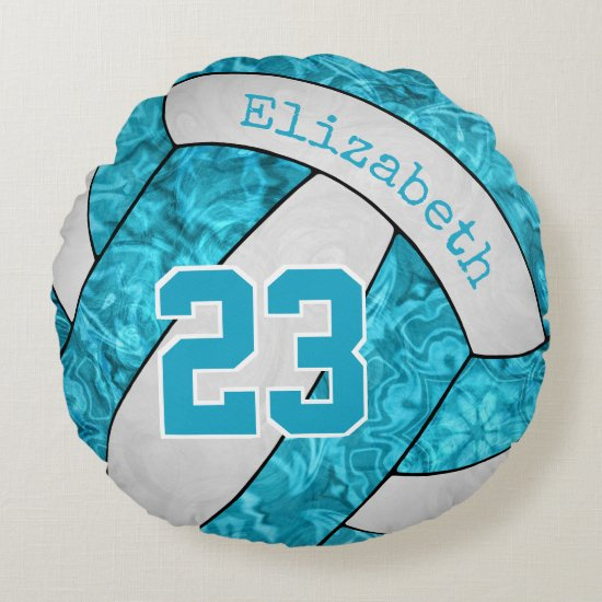 girls custom turquoise blue white volleyball round pillow