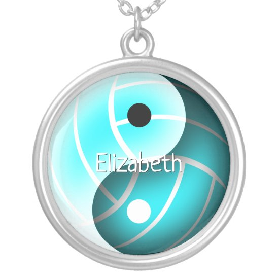 girls custom yin and yang turquoise volleyball silver plated necklace