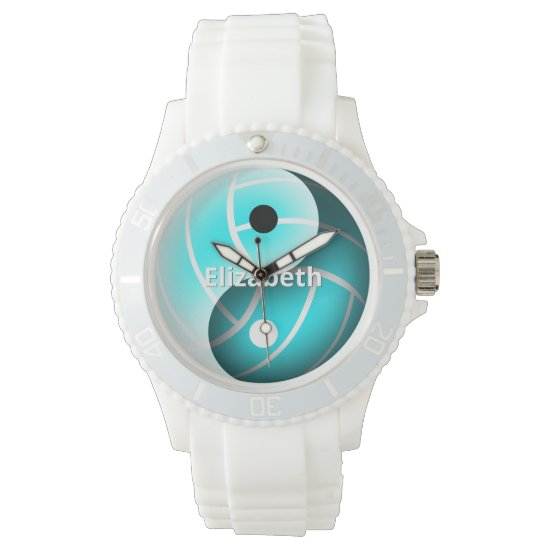 girls custom yin and yang turquoise volleyball watch