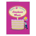 Girls Cute 6th Birthday Personalize It Card