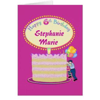 Girls Cute 6th Birthday Personalize It Greeting Card