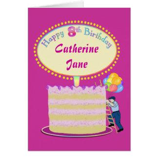 Girls Cute 8th Birthday Personalized It Card