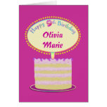 Girls Cute 9th Birthday Personalize It Greeting Card