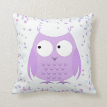 Girl's Cute Confetti Purple Owl Pillow
