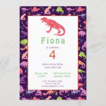 Girls Cute Dinosaur Birthday Watercolor Invitation