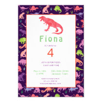 Girls Cute Dinosaur Birthday Watercolor Invitation