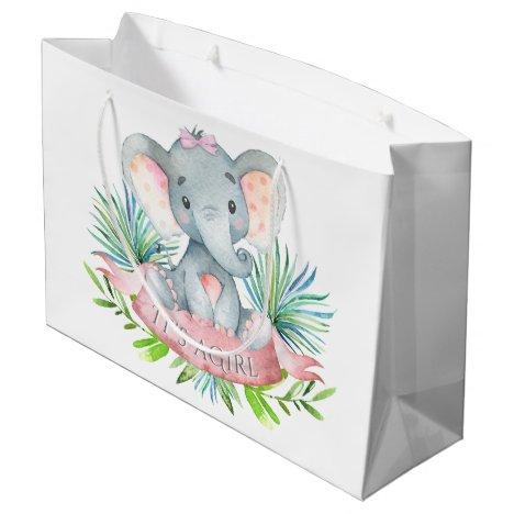 Girls Cute Elephant Baby Shower Large Gift Bag