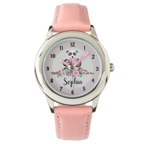 Girls Cute Floral Panda Bear and Name Kids Watch