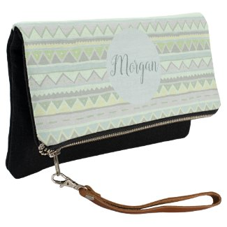 Girls Cute Green Tribal Zigzag Pattern with Name Clutch