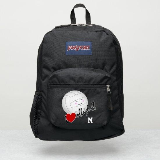 girls cute kawaii I love volleyball emoji JanSport Backpack
