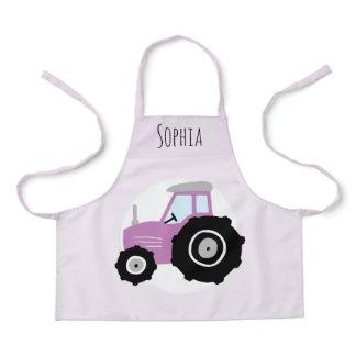 Girls Cute Modern Purple Farm Tractor & Name Kids Apron
