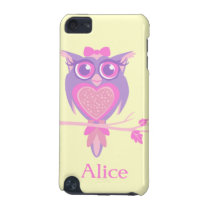 Girls cute owl purple yellow name ipod case