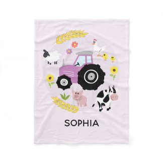 Girls Cute Pink Farm Animals Tractor & Name Kids Fleece Blanket