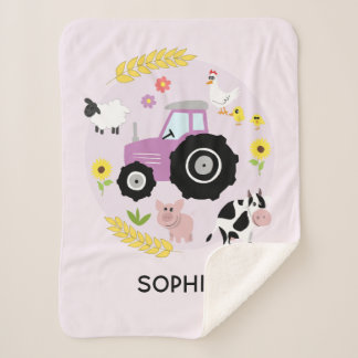 Girls Cute Pink Farm Animals Tractor & Name Kids Sherpa Blanket