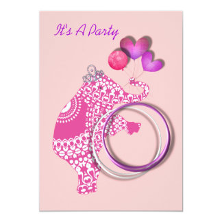 Girls Cute Pink Princess Elephant Party Invitation