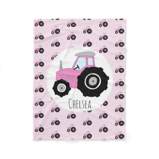 Girls Cute Pink Tractor Pattern with Name Kids Fleece Blanket