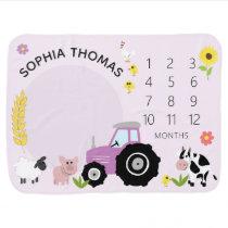 Girls Cute Purple Farm Animal Tractor Milestone Baby Blanket