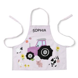 Girls Cute Purple Farm Animal Tractor & Name Kids Apron