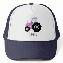 Girls Cute Purple Farm Tractor and Name Kids Trucker Hat