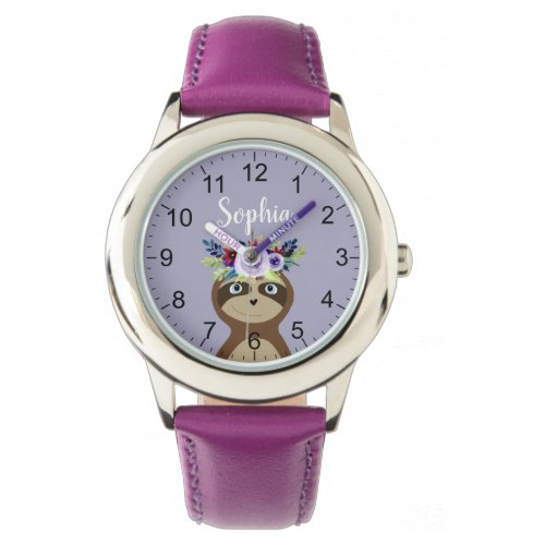Girls Cute Sloth Watercolor Flowers & Name Kids Watch
