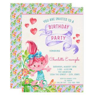 Girls Cute Troll Birthday Party Invitations