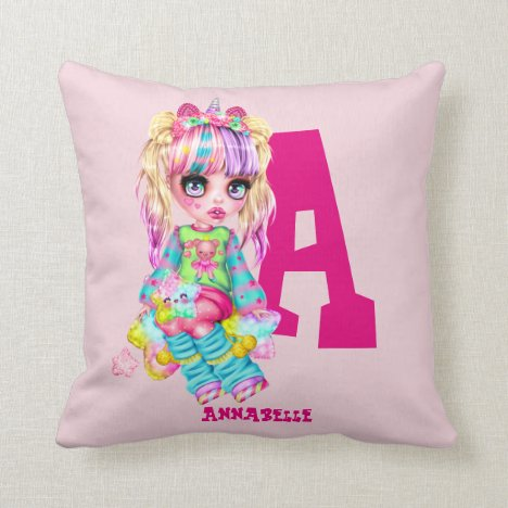 Girls Cute Unicorn Personalized Named Monogram Throw Pillow