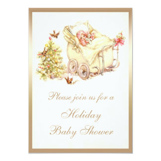 Girls Cute Vintage Christmas Baby Shower 5x7 Paper Invitation Card