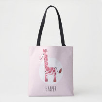 Girl's Cute Watercolor Giraffe Safari Name Tote Bag