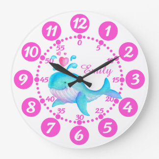 Girls cute whale spurting art pink white clock