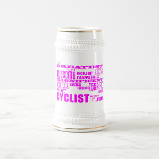 Girls Cyclists : Pink Greatest Cyclist 18 Oz Beer Stein