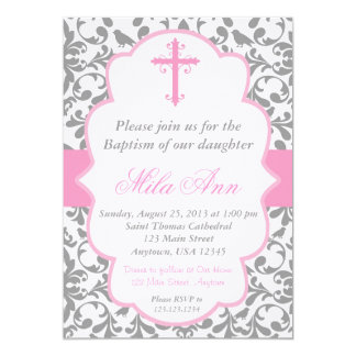 Girls Damask Baptism Pink and Grey Invitation