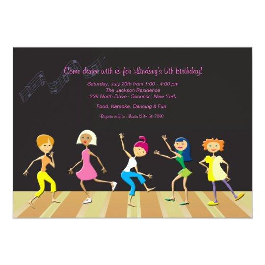girls dancing party invitation zazzle com