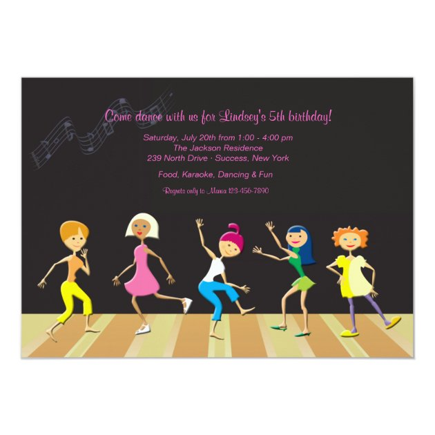 Girls Dancing Party Invitation Zazzlecom