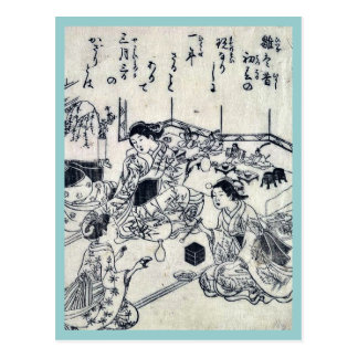 Girl's day by Nishikawa, Sukenobu Ukiyoe Postcard